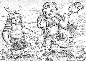 DWDW 11 Samurai vs. tribal warrior by DavidStaege