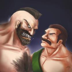 Death Battle Sketch: Haggar vs Zangief by DotWork-Studio