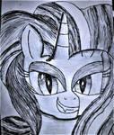 Nightmare Rarity Sketch by SuperHyperSonic2000