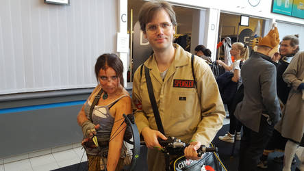 Lara Croft and Egon Spengler by EgonEagle