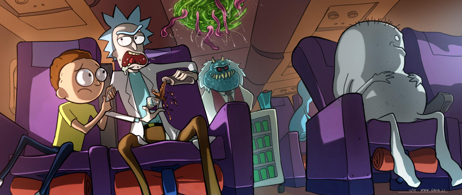 Rick and Morty on an Airplane by gavinli
