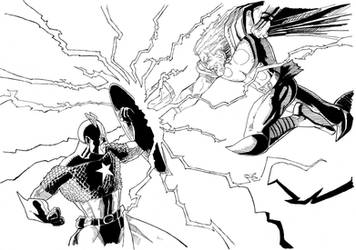CAP AND THOR IN INK by pfab