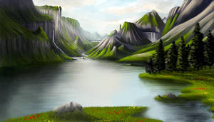 Mountains and lake by Syntetyc