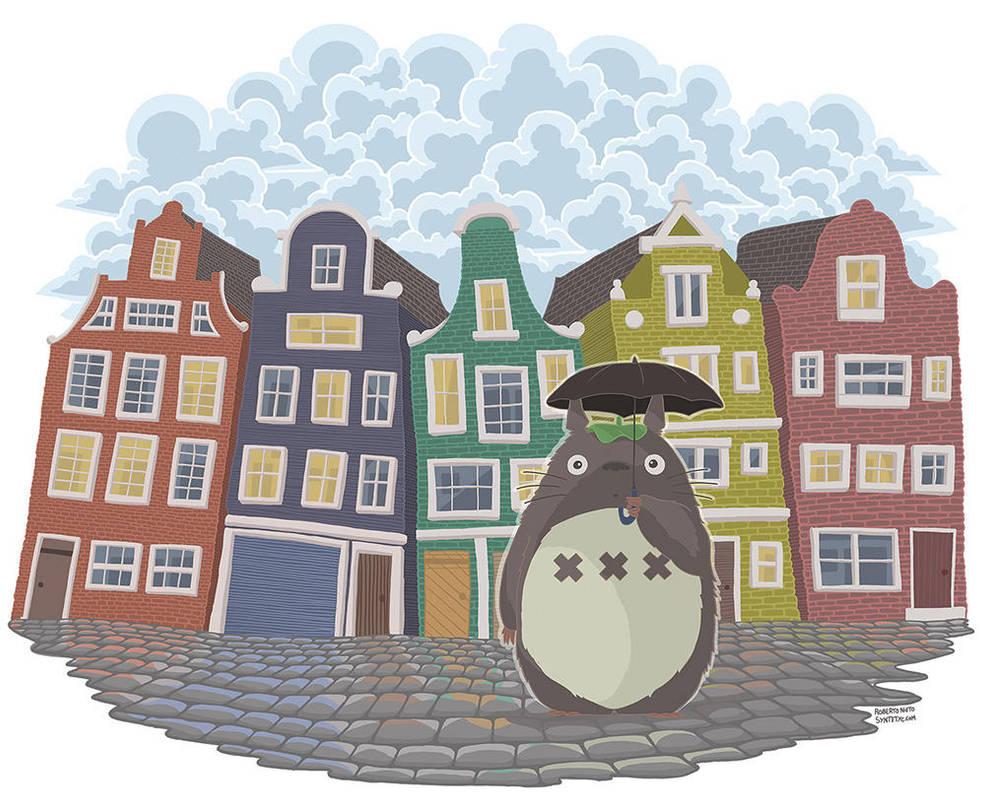 My neighbor Amsterdam (Totoro fan art) by Syntetyc