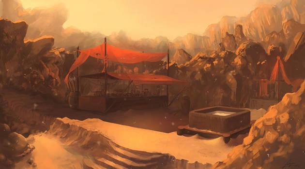 desert encampment by freelancerart