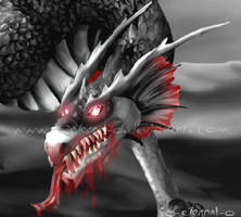 Vampire Dragon Head by FleetingEmber