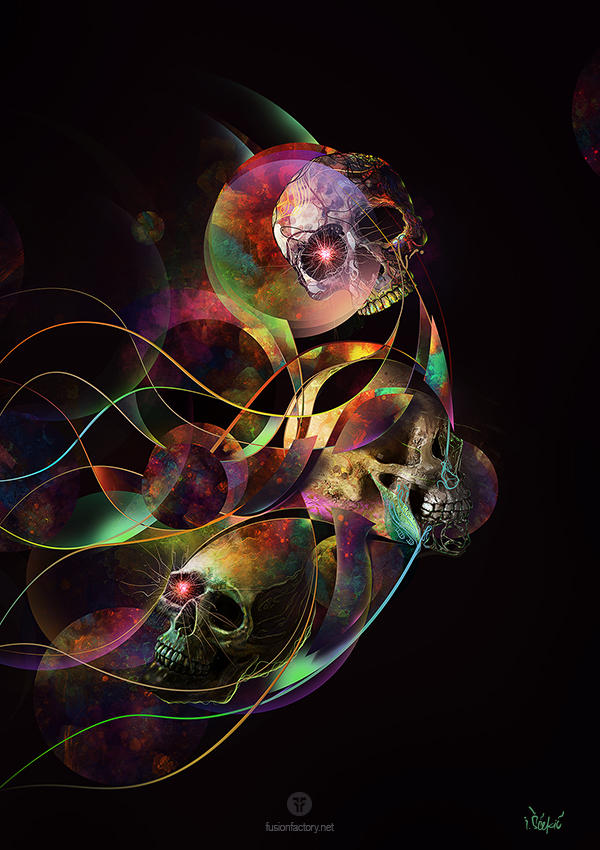 Vivid Skulls of Life by Virus69