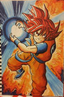 Goku Saiyan God (Alcohol markers test)I by Veguito2b