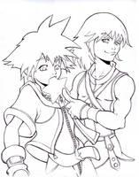 Riku shoves it lineart by dabean