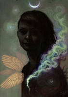 Self portrait in the dark by aeryael