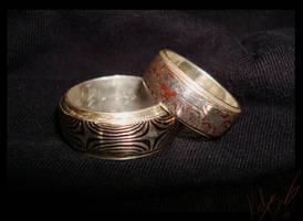 Mokume rings by bug-in-my-eye