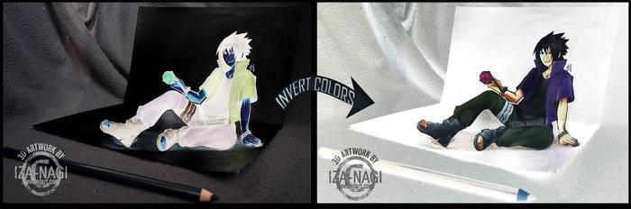NEGATIVE/INVERT 3D ART - Sasuke RTN by Iza-nagi