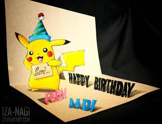 3D Drawing: Birthday Gift - Pika Pi! by Iza-nagi