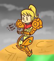 Samus Playing Metroid 2 by Anaugi