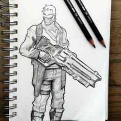Soldier 76 Sketch - Overwatch Fanart by PixelMistArt