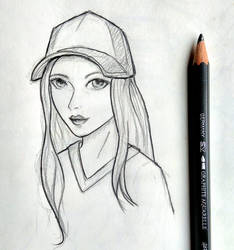 Random Sketch - girl with baseball cap by PixelMistArt