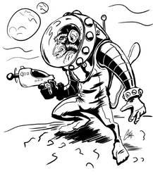space monkey is in space by ChrisJamesScott