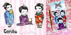 Sticker pack -Geishas- by Bea-Gonzalez