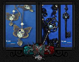 Necklaces: Butterfly+ Blue key by Bea-Gonzalez