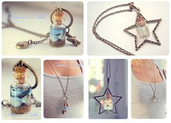 Ocean in a bottle and Falling star Bottle necklace by Bea-Gonzalez