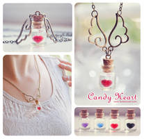 Candy heart Bottle necklace by Bea-Gonzalez