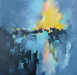 R1316 70x70 burning village by Malahicha