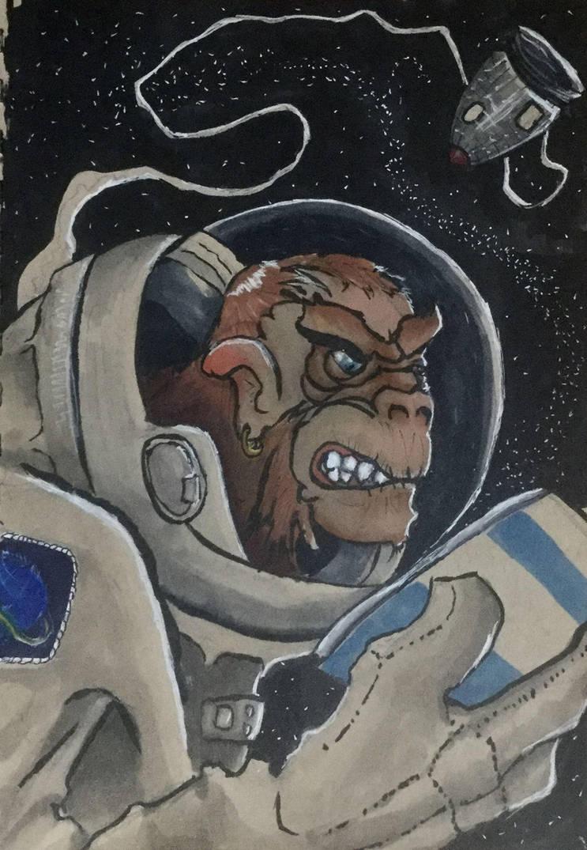 Space Monkey #Inktober2018 by Amarbiter