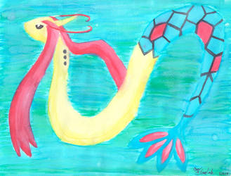 Pokemon Milotic Watercolor by firecloak