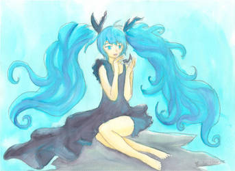 Miku Hatsune, Deep Sea Girl, Watercolor by firecloak