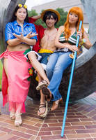 Pirate King and his Queens, Luffy Nami Robin by firecloak