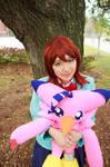 Sora Holds Biyomon: Digimon Tri Cosplay by firecloak