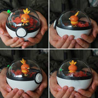 Torchic Pokemon Pokeball Terrarium by firecloak