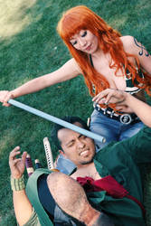 Nami Hits Zoro with Climatact, One Piece Cosplay by firecloak