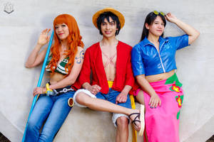Luffy, Nami, Robin Sitting One Piece Cosplay by firecloak