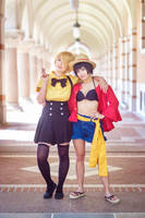 Luffy and Sanji One Piece Genderbend Cosplay by firecloak