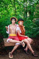 Luffy and Nami Sitting Together, One Piece Cosplay by firecloak