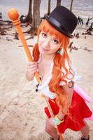 Nami Sexy Pose with Climatact One Piece Cosplay by firecloak
