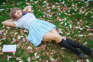 Shouko in a Bed of Petals, A Silent Voice Cosplay by firecloak