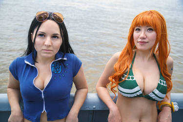Nami and Robin Leaning on Railing One Piece by firecloak