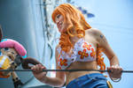 Nami Smiles at Chopper Dressrosa One Piece Cosplay by firecloak