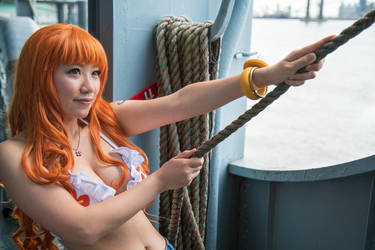 Nami Pulls on Anchor, Dressrosa One Piece Cosplay by firecloak