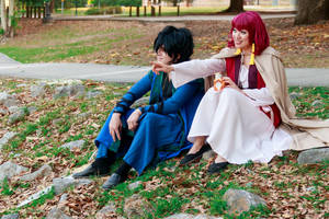 Hak and Yona Sitting by the Lake by firecloak