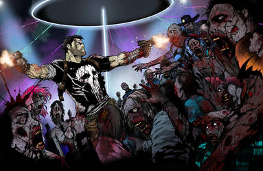Punisher vs Walkers by dave-simon