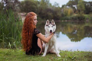Husky and a girl by Nocturny