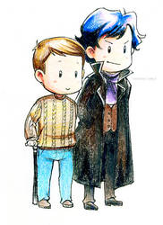 BBC Sherlock chibis by xPrincessSakurax
