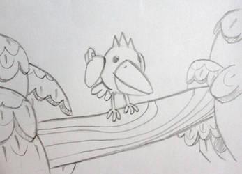 Pac Bird on Tree Branch by Big-Al-Son86