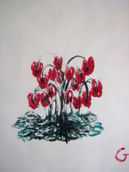 Flower fountain, Acrylic on paper, 2014. by DesCroixEtDesTraits