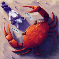 Rarity Fighting a Giant Crab by Dahtamnay