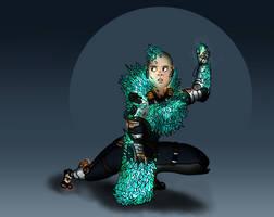 Randomizer sketch 3 - Cyborg with Crystal armour by Deimonian