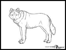 Free lineart-Wolf by makangeni